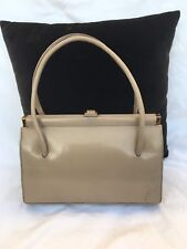 VINTAGE 50s TAUPE LEATHER WALDYBAG HANDBAG 'GRACE KELLY' STYLE