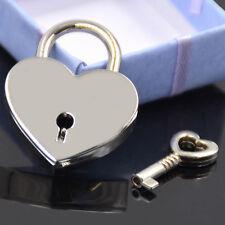 Mini Padlock Heart Shape Luggage Case Padlock With Key Silver Alloy New