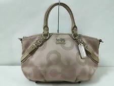 Auth COACH Madison Dotted Op Art Sofia 15935 Beige Jacquard & Leather Handbag