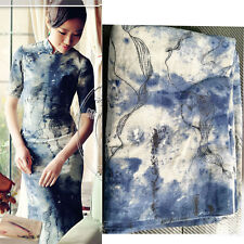 by The Metre Vintage Ink Painting Print Cotton Linen Fabric for Dress Home Decor