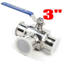 """3""""  Sanitary Stainless 304 Three Way Ball Valve Clamp Connection T Type  Water"""