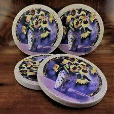 New listing Thirstystone Diana Maderas Floral Natural Sandstone Cork Back Coaster Set Usa