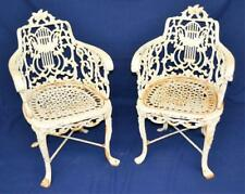 Pair Of Cast Iron White Patio Chairs Lot 2345
