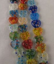1 strand Mixed Millefiori Glass Heart Beads 12mm E708