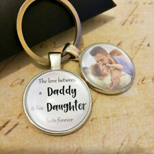 Personalised Daddy Daughter Dad Photo Keyring Fathers Birthday Christmas Gifts
