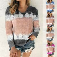 Women Plus Long Sleeve Gradient Blouse Ladies Casual Loose Pullover Tops T Shirt