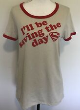 Superman T-Shirt Juniors XLarge Beige Top Red Trim I'll Be Saving The Day