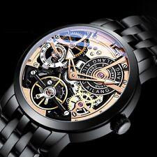 Unique Tourbillon Wrist Watches Men Automatic Mechanical Skeleton Leather Belt
