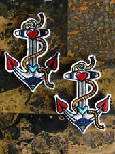 """2 Love Anchor Nautical Patches Iron On Sew On Patch 3.5""""L x 2.5""""W Same Day Ship"""