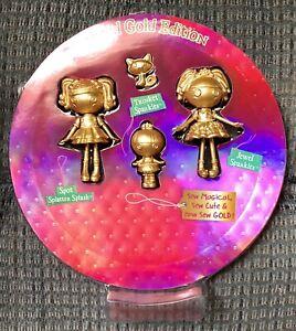 LALALOOPSY Mini Doll Lot LIMITED GOLD EDITION Trinket & JEWEL Sparkles Cat SPOT
