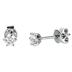 Earrings 585 White Gold Diameter: 4,6mm With 2 Diamonds 0,4 CT Tw-Si