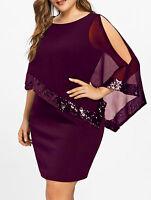 Plus Size Women Lady Dress Slit Sleeve Sequins Capelet Overlay Chiffon Dress New
