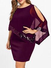 Plus Size Women Lady Dress Slit Sleeve Sequins Capelet Overlay Chiffon Dress New