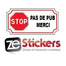 Sticker Autocollant  STOP PAS DE PUB MERCI boite aux a lettre