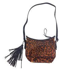 Zara Crossbody Bucket Bag Leopard Cheetah Animal Print Vegan Tassel Purse