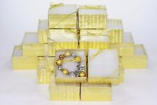 """LOT OF 30 GOLD Clear view COTTON FILLED BOX JEWELRY GIFT BOX BRACELET BOX 2""""Tall"""