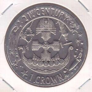 GIBRALTAR 1 CROWN UNC COIN 2001 YEAR KM$906 21th CENTURY