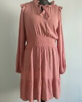 M&S blush pink spot long-sleeve belted tunic midi dress Size 16 modest ruffle