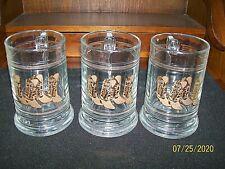 "Set of 3 CULVER Bar Mugs w/Cowboy Boots Design w/22K Gold Trim / 5-1/4"" Tall"