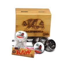 California Stash Box All one Combo Set Grinder Glass Jar Wood Kit Herb Tobacco