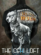MENS GRAPHIC T-SHIRT Black RUDE DOGS Pitbull Fence Background SLIM FIT