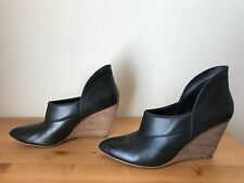 BELLE by SIGERSON MORRISON black leather wedge pointy pumps shoes 7.5B