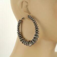 """Earrings 2.75"""" Large Silver-Tone Hoop"""