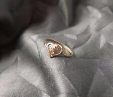Diamond Heart Anniversary Ring - 5.5 Beautiful Vintage Solid 10K Yellow Gold &