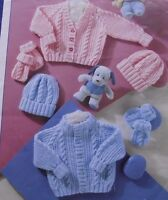 """KNITTING PATTERN - GORGEOUS CABLE CARDIGANS HAT & MITTENS SIZE PREMATURE 12""""-22"""""""