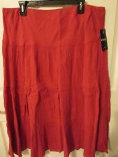 NWT - CHAPS Beautiful  Red Boho/phesant style Lined skirt - sz XL - MSRP $69.00