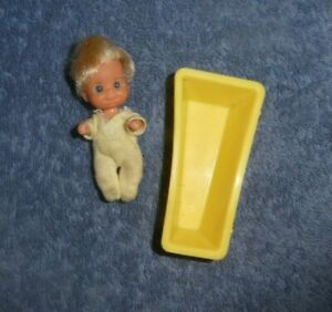 Vintage Mattel Sunshine Family Baby Doll and Bathtub