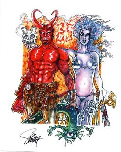 ORIGINAL ART  PRINT of HELLBOY and LADY DEATH by SMITTY (SHIPS FREE)*