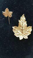 Vintage gold tone Detailed Ivy leaf brooch & lapel pin