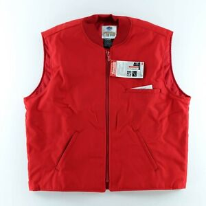 Riverside Quilted Workwear Nylon Red Vest Button Down Medium Long Blank