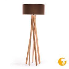 Design Stehlampe Tripod Leuchte Buche Holz H=160cm Stativ Stehleuchte Braun