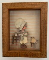 """Vintage 3D Small Paper Doll Farmhouse with Cat on Stool 5.5"""" x 4.5"""""""