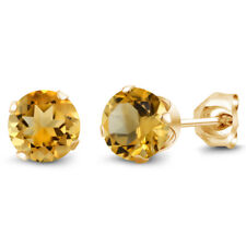 1.40 Ct Round Yellow Citrine Gold Plated Silver 4-prong Stud Earrings 6mm