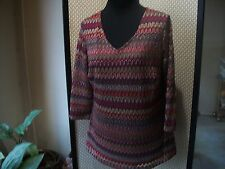 ROZ & ALI Ladies Sz XL Multi Colored Blouse Shirt Long with 3/4 Sleeves Free Shp