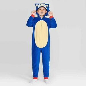 Boy Sonic the Hedgehog One Piece Pajamas Hoodie Union Suit 4 5 6 8 10 12 Costume