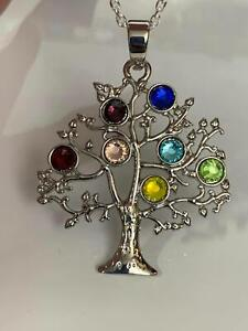 "Chakra Tree of Life Rainbow Crystals Charm Tibetan Silver 18"" Necklace"