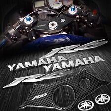 "Handle Bar Yoke Cover Carbon Look+Chrome 6"" Logo+Emblem Sticker Kit 03-05 YZF R6"