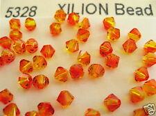 48 Fire Opal Swarovski Beads Bicone 5328 4mm