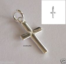 925 SILVER TINY SMALL SIMPLE PLAIN CROSS PENDANT BRACELET HOLY CHARM X'Mas GIFT