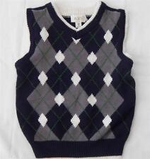 Children's Place sweater vest size XS 4 boys argyle church Christmas #1819