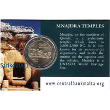 NEW !!! COIN CARD Ufficiale 2 EURO COMMEMORATIVO MALTA 2018 Templi MNAJDRA