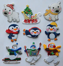Christmas Embroidered Motif Iron/stick On Embroidery Patch Snowman Bear Penguin