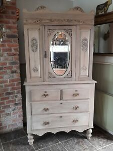 ANTIQUE FRENCH LINEN PRESS MIRRORED CUPBOARD DRAWERS  LIMED WAXED CREAM,GREY