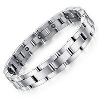 Herren Magnet Armband Edelstahl Armreif Silber Männer Armschmuck 11mm breit