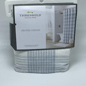 Gingham Checkered Shower Curtain Borage Blue - Threshold new