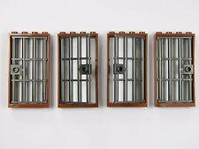 LEGO barred door gate 1x4x6 BROWN DK. GREY x4 for castle prison dungeon bars